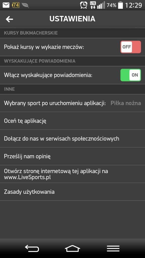 Livesports aplikacja